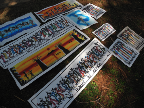 Colorful paintings for sale outside Chinteche Inn Hotel