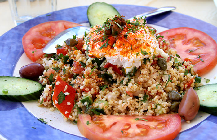 Salad_couscous_santorini_classic and traditional greek dishes